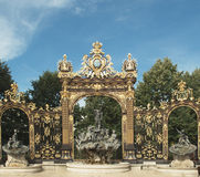 Artfully wrought iron fencing in Place Stanislas, Nancy Royalty Free Stock Photo