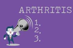 Arthrite d'apparence de signe des textes La maladie conceptuelle de photo causant l'inflammation et la rigidité douloureuses des  illustration libre de droits