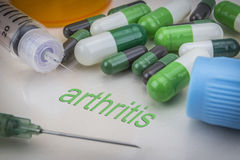 Arthritis, medicines and syringes as concept. Of ordinary treatment health Stock Photos