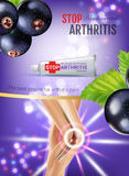 Arthritis Pain Relief Ointment ads. Vector 3d Illustration with Tube cream with blackcurrant extract. Royalty Free Stock Photo