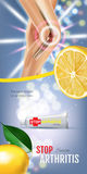 Arthritis Pain Relief Ointment ads. Vector 3d Illustration with Tube cream with lemon extract. Stock Photography