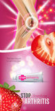 Arthritis Pain Relief Ointment ads. Vector 3d Illustration with Tube cream with strawberry extract. Stock Image