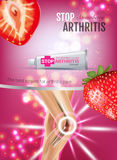 Arthritis Pain Relief Ointment ads. Vector 3d Illustration with Tube cream with strawberry extract. Royalty Free Stock Images