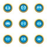 Arthropoda icons set, flat style. Arthropoda icons set. Flat set of 9 arthropoda vector icons for web isolated on white background Royalty Free Stock Photo