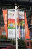 Arthur Ashe stadium świętuje 20th rocznicę przy Billie Cajgowego królewiątka tenisa Krajowym centrum fotografia stock