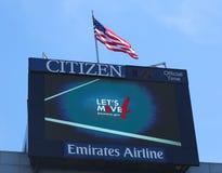 Arthur Ashe Stadium att främja som för funktionskort lät oss flytta program, framkallade vid presidentsfrun Michelle Obama Arkivbild