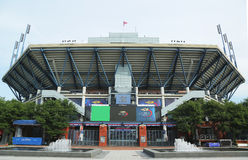 Arthur Ashe Stadium bei Billie Jean King National Tennis Center bereit zum US Open-Turnier Lizenzfreie Stockfotografie