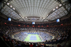 Arthur Ashe Stadium at Billie Jean King National Tennis Center during night session US Open 2017. NEW YORK - AUGUST 29, 2017: Arthur Ashe Stadium at Billie Jean Stock Images