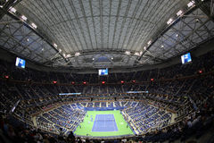 Arthur Ashe Stadium at Billie Jean King National Tennis Center during night session US Open 2017. NEW YORK - AUGUST 29, 2017: Arthur Ashe Stadium at Billie Jean Stock Photo