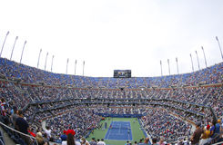 Arthur Ashe Stadium at the Billie Jean King National Tennis Center during US Open 2013 tournament. NEW YORK -SEPTEMBER 1 Arthur Ashe Stadium at the Billie Jean royalty free stock image