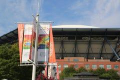 Arthur Ashe Stadium comemora o 20o aniversário em Billie Jean King National Tennis Center Imagem de Stock
