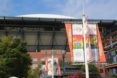 Arthur Ashe Stadium comemora o 20o aniversário em Billie Jean King National Tennis Center Fotografia de Stock Royalty Free