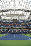 Arthur Ashe Stadium with finished retractable roof at the Billie Jean King National Tennis Center ready for US Open 2017. NEW YORK - AUGUST 21, 2017: Arthur Ashe Royalty Free Stock Photo