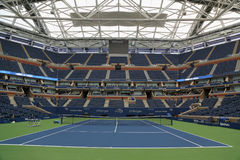 Arthur Ashe Stadium with finished retractable roof at the Billie Jean King National Tennis Center ready for US Open 2017. NEW YORK - AUGUST 21, 2017: Arthur Ashe Royalty Free Stock Photos