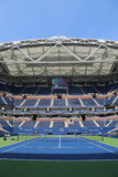 Arthur Ashe Stadium with finished retractable roof at the Billie Jean King National Tennis Center ready for US Open 2017 Royalty Free Stock Image