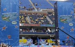 Arthur Ashe stadium podczas Arthur Ashe Żartuje dzień 2014 przy Billie Cajgowego królewiątka tenisa Krajowym centrum obrazy royalty free