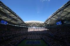 Arthur Ashe stadium przy Billie Cajgowego królewiątka tenisa Krajowym centrum podczas us open 2017 dni sesja zdjęcia stock