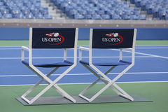 Arthur Ashe stadium przy Billie Cajgowego królewiątka tenisa Krajowym centrum przygotowywającym dla us open turnieju zdjęcia stock