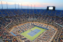 Arthur Ashe Stadium during US Open 2014 night match at Billie Jean King National Tennis Center Royalty Free Stock Photos