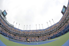 Arthur Ashe Stadium during US Open 2013 third round doubles match at Billie Jean King National Tennis Center Royalty Free Stock Photos