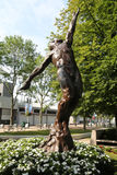 Arthur Ashe Statue in front of the Arthur Ashe Stadium at the Billie Jean King National Tennis Center. NEW YORK - AUGUST 25, 2016: Arthur Ashe Statue in front of royalty free stock photos