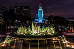 Arthur J. Will Memorial Fountain with Green LED Lights Royalty Free Stock Photography
