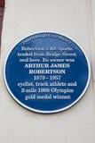 Arthur James Robertson Blue Plaque en Peterborough foto de archivo libre de regalías
