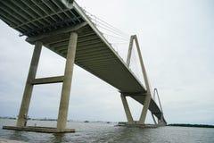 Arthur Ravenel Bridge in Charleston. Arthur Ravenel Bridge of Charleston in South Carolina. It is a sleek car bridge with a bike/walking lane whose triangular Stock Photos