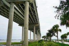 Arthur Ravenel Bridge in Charleston. Arthur Ravenel Bridge of Charleston in South Carolina. It is a sleek car bridge with a bike/walking lane whose triangular Stock Photography