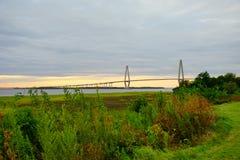 Arthur Ravenel Bridge in Charleston. Arthur Ravenel Bridge of Charleston in South Carolina. It is a sleek car bridge with a bike/walking lane whose triangular Stock Image