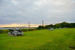 Arthur Ravenel Bridge in Charleston. Arthur Ravenel Bridge of Charleston in South Carolina. It is a sleek car bridge with a bike/walking lane whose triangular Royalty Free Stock Photography