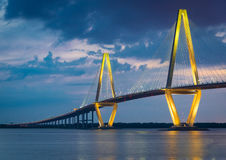 Arthur Ravenel Bridge in Charleston, South Carolina. Twilight at the Charleston harbour overlooking the Arthur Ravenel Bridge in South Carolina Stock Images