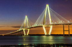 Arthur Ravenel Bridge. Twilight over the Arthur Ravenel Bridge in charleston SC Stock Photos