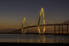 Arthur Ravenel Jr. Bridge at Dusk. On a beautiful Spring evening, shortly after the sun had set, the Arthur Ravenel Jr. Bridge stands out against the soft colors stock images