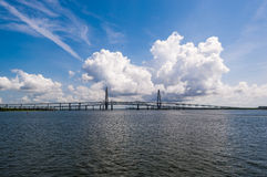 Arthur Ravenel Jr Bridge over Cooper River in Charleston. With dramatic clouds in the background Stock Photography