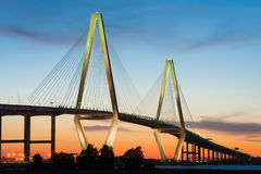 Arthur Ravenel Jr Cooper River Bridge Dusk Stock Photos