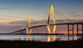 Arthur Ravenel New Cooper River Bridge Charleston SC. Arthur Ravenel Bridge, also known as the new Cooper River Bridge, in Charleston, South Carolina illuminated Stock Images