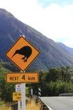 New Zealand Kiwi sign. In Arthur's Pass National park kiwi crossing the road is a major hazard royalty free stock photos