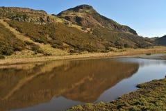 Arthur ` s siedzenie i naturalny jezioro, odbicie w wodzie, szkocka natura, Edynburg, Szkocja UK Fotografia Stock