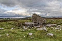 Arthur`s Stone - Wales. Arthurs Stone is located on the highest point of the Gower Peninsular in Wales. It is a bronze age burial chamber with many local legends stock images
