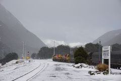 Arthurs Pass in snow Stock Images