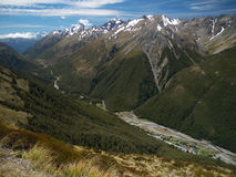 Arthurs Pass. Valley of Arthurs Pass in Southern Alps, New Zealand Stock Photos