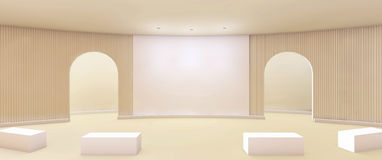 Arti contemporanee e porta della galleria pulite con la parete bianca illustrazione vettoriale