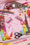 Arti e rifornimenti del mestiere per il biglietto di S. Valentino del san Fotografia Stock Libera da Diritti