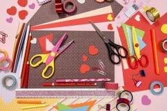 Arti e rifornimenti del mestiere per il biglietto di S. Valentino del san Fotografie Stock