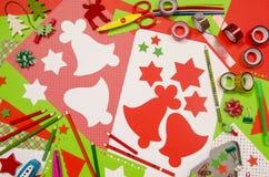 Arti e rifornimenti del mestiere per il Natale Immagini Stock Libere da Diritti