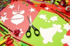 Arti e rifornimenti del mestiere per il Natale Immagine Stock Libera da Diritti