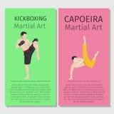 Arti marziali asiatiche Kickboxing e Capoeira illustrazione vettoriale