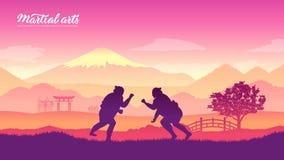 Arti marziali dei guerrieri del Giappone illustrazione di stock