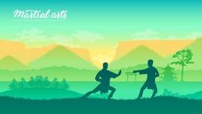 Arti marziali dei guerrieri della Cina illustrazione vettoriale